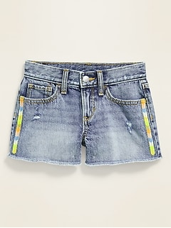 Embroidered-Trim Jean Cut-Off Shorts for Girls