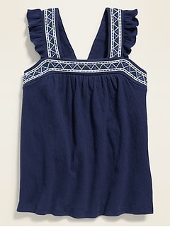 Sleeveless High-Neck Embroidered Swing Top for Girls