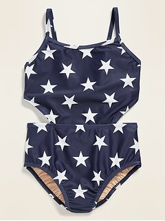 Americana-Print Side Cut-Out Swimsuit for Girls