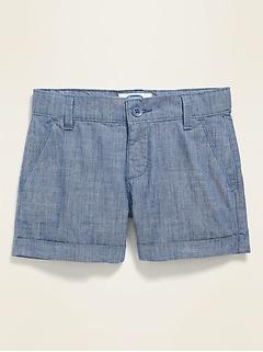 Chambray Chino Shorts for Girls