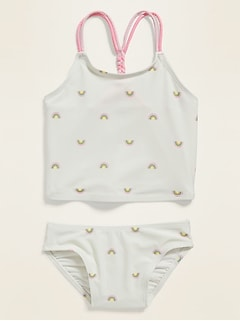 Printed Braided-Strap Tankini Swim Set for Toddler Girls