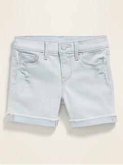 Light-Wash Distressed Jean Midi Shorts for Girls