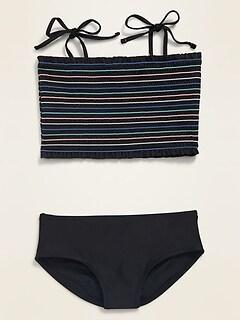 Smocked Tie-Shoulder Tankini Swim Set for Girls