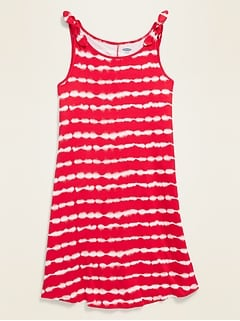 Americana-Print Tie-Shoulder Swing Dress for Girls