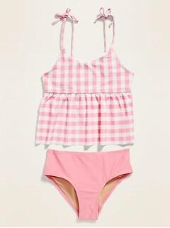 Peplum-Hem Tie-Shoulder Swim Set for Girls