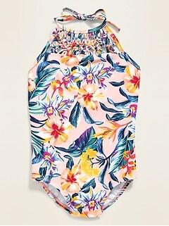 Printed Macrame-Trim Halter Swimsuit for Girls