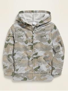 Haut à capuchon à glissière en jersey bouclette à imprimé camouflage pour tout-petit garçon