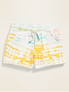 Tie-Dyed French Terry Functional-Drawstring Shorts for Toddler Girls