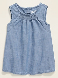 Smocked A-Line Chambray Top for Toddler Girls