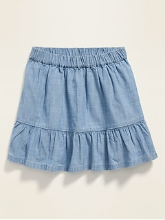 Tiered Chambray Skirt for Toddler Girls