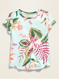 Printed Crew-Neck Short-Sleeve Tee for Toddler Girls