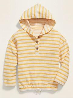 Striped Cinched-Hem Baja Hoodie for Girls
