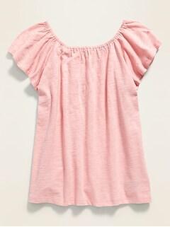 Flutter-Sleeve Jersey Top for Girls