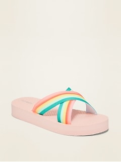 Crisscross-Strap Platform Flip-Flops for Girls