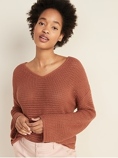 Slouchy Crochet V-Neck Sweater for Women