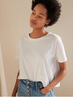 Loose-Fit Short-Sleeve Crop Tee for Women