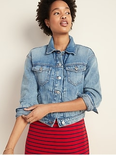 Cropped Medium-Wash Jean Jacket for Women