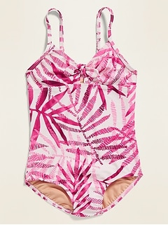 Printed Keyhole Swimsuit for Girls
