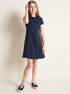 Pique-Knit Uniform Polo Short-Sleeve Dress for Girls