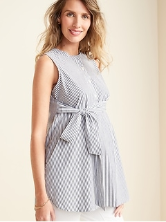 Maternity Striped Sleeveless Tie-Belt Tunic Top