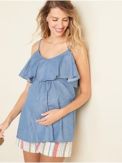 Maternity Ruffled Cold-Shoulder Chambray Cami
