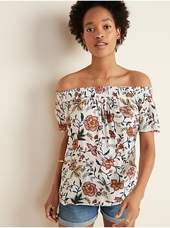 Floral-Print Crinkle-Crepe Off-the-Shoulder Top for Women