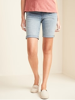 Maternity Full-Panel Bermuda Jean Shorts -- 9-inch inseam