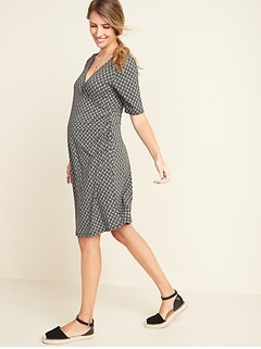 Maternity Faux-Wrap Jersey Dress