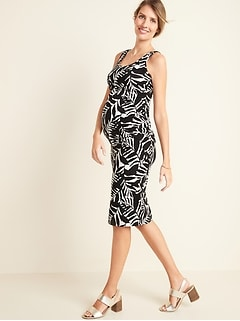 Maternity Printed Jersey Bodycon Tank-Top Dress