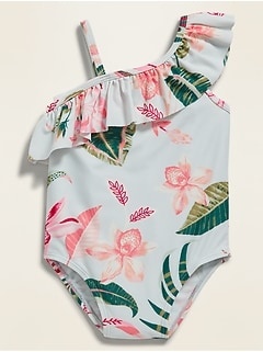 Printed Ruffle One-Shoulder Swimsuit for Toddler Girls
