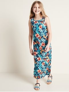 Printed Slub-Knit Bow-Back Maxi Sundress for Girls