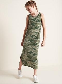 Printed Slub-Knit Bow-Back Maxi Sundress for Girls