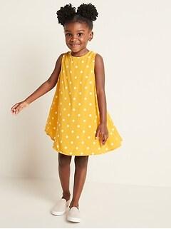 Printed Sleeveless Swing Dress for Toddler Girls