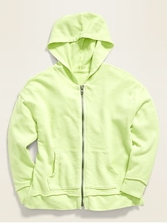 Garment-Dyed French Terry Zip Hoodie for Girls
