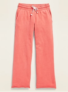 Garment-Dyed French Terry Wide-Leg Cropped Pants for Girls