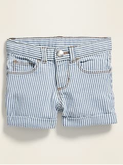 Cuffed Railroad-Stripe Jean Shorts for Toddler Girls