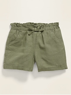 Linen-Blend Paperbag-Waist Pull-On Shorts for Toddler Girls