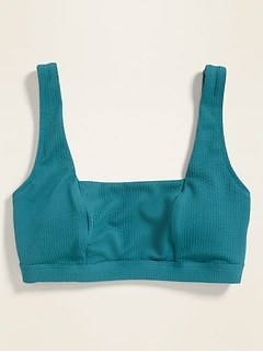 Pique-Knit Square-Neck Swim Top for Women