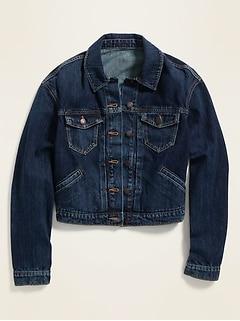 Cropped Dark-Wash Jean Jacket for Women