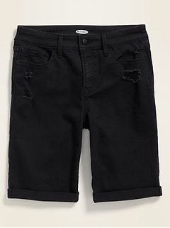 High-Waisted Distressed Black Bermuda Jean Shorts for Women -- 9-inch inseam