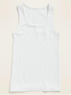 Slim-Fit Thermal-Knit Split-Neck Tank Top for Women