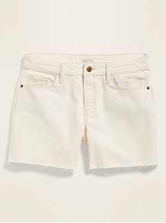 Mid-Rise White Slim Midi Jean Cut-Offs for Women - 5-inch inseam