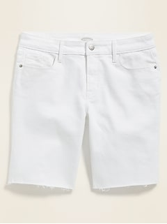 High-Rise White Bermuda Jean Shorts for Women - 9-inch inseam