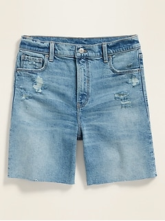 High-Waisted Relaxed Distressed Cut-Off Jean Shorts for Women -- 7-inch inseam