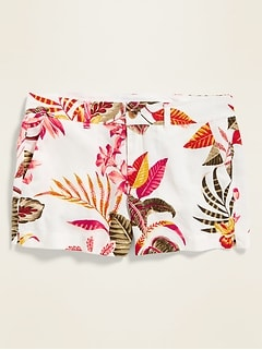 Mid-Rise Printed Linen-Blend Everyday Shorts for Women - 3.5-inch inseam