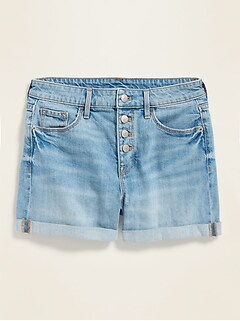 High-Waisted Button-Fly Cuffed Jean Shorts for Women -- 3.5-inch inseam