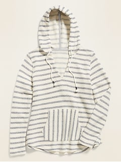 French Terry V-Neck Baja-Stripe Pullover Hoodie for Women
