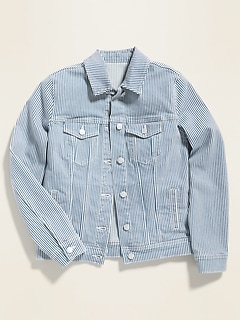 Railroad-Stripe Jean Jacket for Women