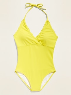 Lettuce-Edge One-Piece Halter Swimsuit for Women