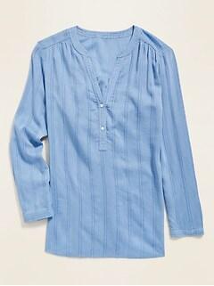 Haut tunique texturé à rayures armurées et encolure fendue pour femme